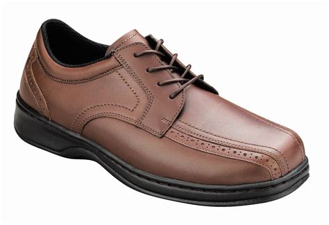 Brown Shoes : Orthofeet 467 Men's Brown Leather Dress Shoe
