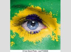 Drawing of Brazil flag painted on woman face csp17104648