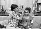 Chip Fields & Janet Jackson on the set of Good Times, 1977 ...
