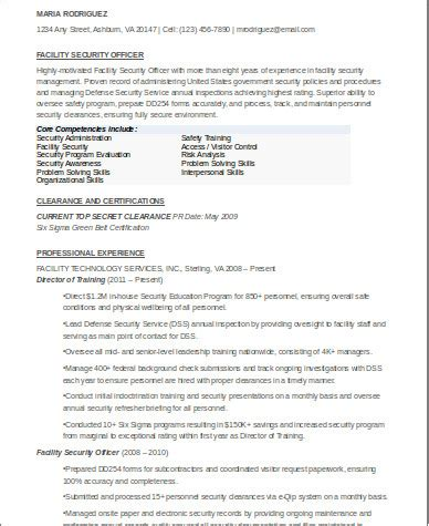sample security officer resume templates  ms