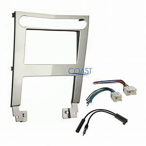 Car Radio Stereo Silver 2 Din Dash Kit Wire Harness For