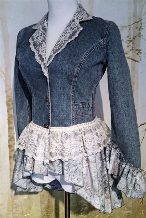 refashioned upcycled denim jacket size  diy projects