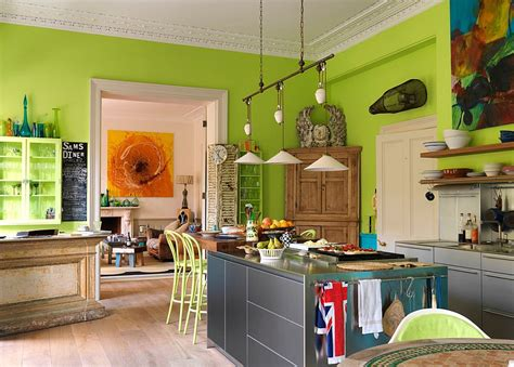 bright green kitchen 50 trendy eclectic kitchens that serve up personalized style 1799