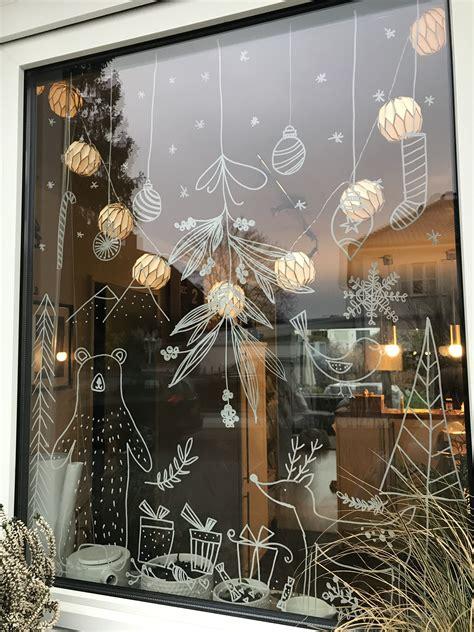 Weihnachtsdeko Fenster Weiß by Chalk Marker On Glass Fenster Bemalen Mit Dem