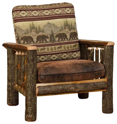 rustic hickory living room chair mt fabric rustic