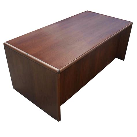 bureau steelcase 72 quot vintage steelcase walnut desk office pedesta ebay