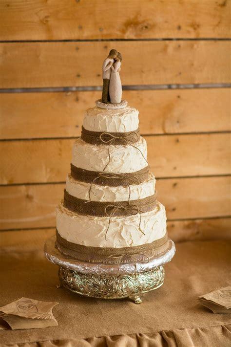 ivory wedding cake wrapped  burlap