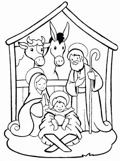 Nativity Scene Coloring Simple Drawing Activities