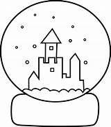 Globe Snow Coloring Clipart Clip Template Line Globes Snowglobe Winter Library Clipground Sweetclipart sketch template