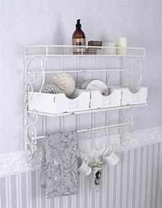 Vintage Regal Weiß : wandboard weiss wandregal shabby chic handtuchhalter ~ Watch28wear.com Haus und Dekorationen