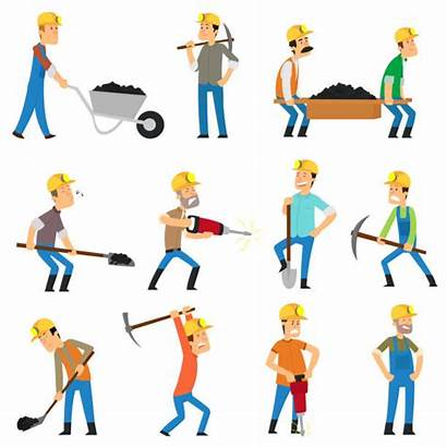 Working Mine Background Vector Digging Miner Isolated
