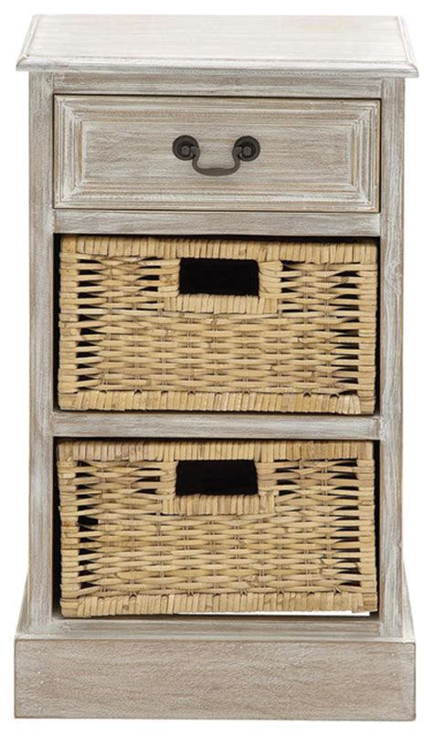 Nightstand With Baskets by Designs Weathered 3 Drawer Nightstand With Wicker