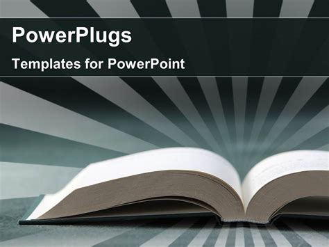 Powerplugs Templates For Powerpoint by Powerpoint Template Open Book With Rays In Background 22564