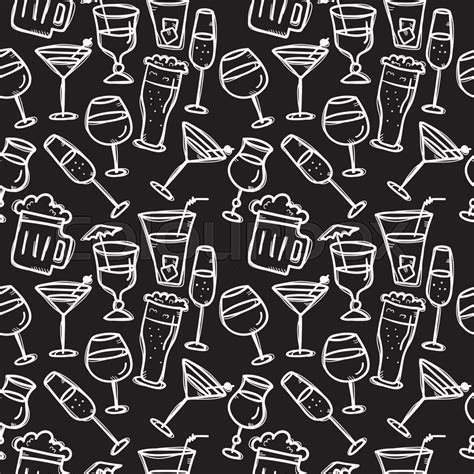 vector doodle style drinks seamless pattern beverages