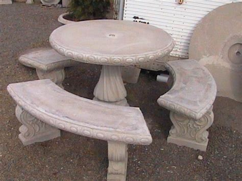 concrete patio table and benches