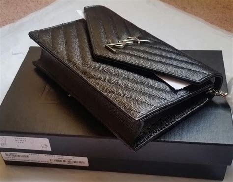 saint laurent chain wallet  ysl monogram matelasse small envelope black leather cross body
