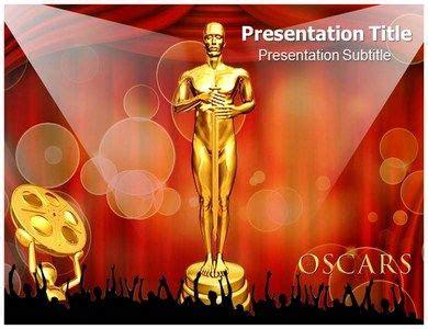 oscar award powerpoint template holds  lady