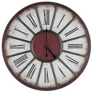 large beige red wall clock with metal accents hobby