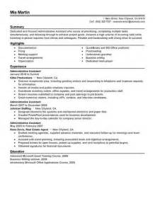 summary for resume for administrative assistant summary of qualifications sle resume for administrative assistant template design