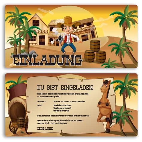 einladung zum geburtstag cowboy western einladungskarten