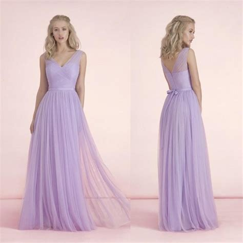 light purple gown 2015 light purple bridesmaid dresses v neck bow knot