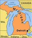 Detroit: location map -- Kids Encyclopedia   Children's ...