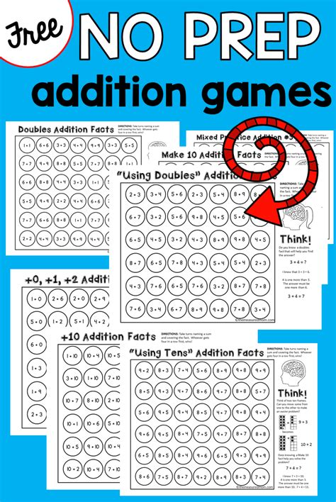 9 No Prep Addition Games That Teach Addition Strategies! Great Addition Activities For