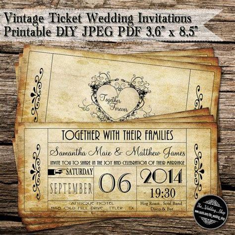 vintage ticket wedding invitations printable diy jpeg pdf
