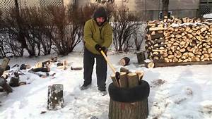 Outil Pour Fendre Le Bois : fendre du bois avec un pneu youtube ~ Dailycaller-alerts.com Idées de Décoration