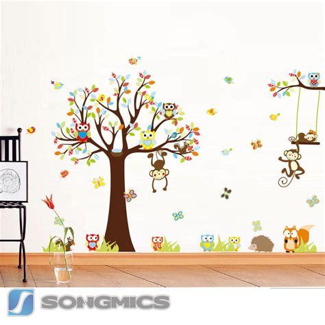 Kinderzimmer Deko Wandsticker by Wandtattoo Wald Tiere Baum Affe Eule Baby Kinderzimmer