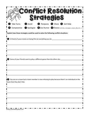 conflict resolution worksheet worksheets