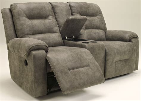 double recliner sofa with console rotation smoke double reclining loveseat with console