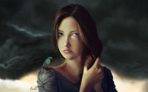 Download Wallpaper 1920x1200 Fantasy Girl, Brown Hair