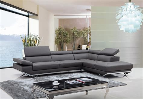 divani casa quebec modern dark grey eco leather sectional
