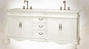 meuble lavabo double style baroque patine blanche With meuble de salle de bain style baroque