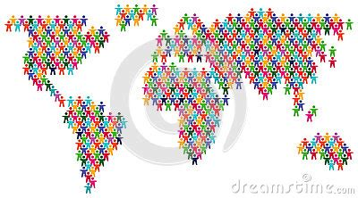 colorful people world map stock  image