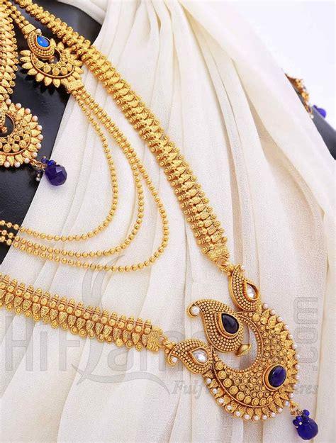 bridal jewelry set  antique blue stones indian