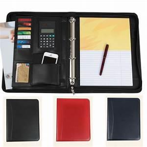 black blue red business zipper pu leather portfolio a4 With portfolio for documents