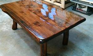 Hand made live edge coffee table on small log legs by for Small live edge coffee table
