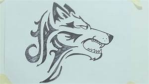 How to draw a tribal wolf head tattoo رسم ذئب #1 - YouTube