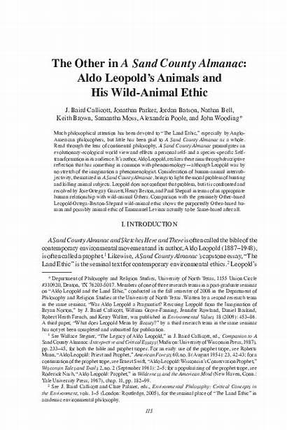 Essay Land Aldo Ethic Verb Describes Leupold