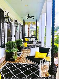 Inspiring, Front, Porch, With, Swing, Decor, Ideas, Easy, To, Copy