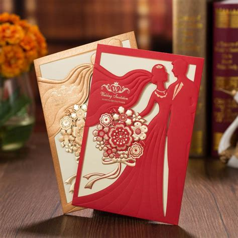 1PC Sample Marriage Invitation Cards Bride and Groom Laser