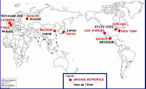 Carte Du Monde Villes Mondiales carte des m 233 tropoles mondiales