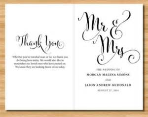 diy wedding ceremony program wedding program thank you etsy