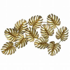 Three hands gold metal tropical leaves wall decor 10116 for Leaf wall decor
