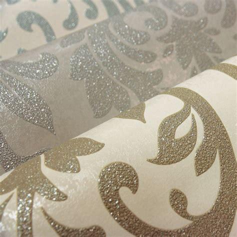 arthouse lucca damask wallpaper duck egg mocha silver