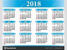English calendar 2018 — Stock Vector © baodart #157818730