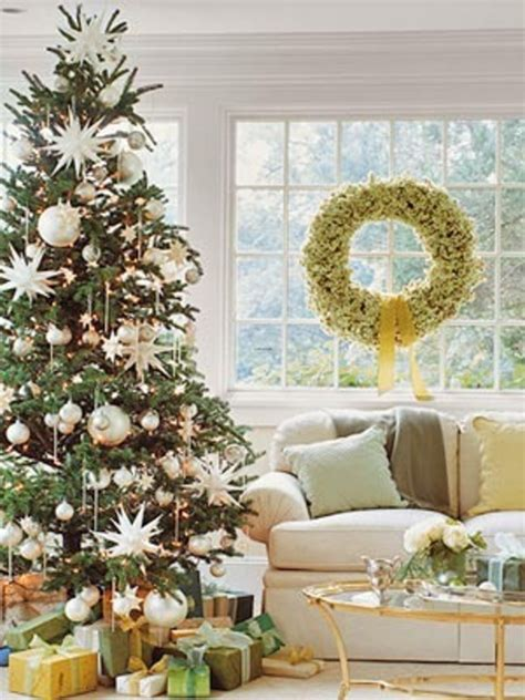 interior epic picture of living room decoration using gold silver bauble tree decor