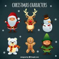 cute christmas characters vector free download